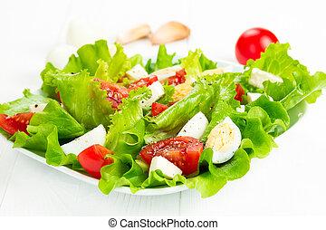 insalata, pomodori,  mozzarella