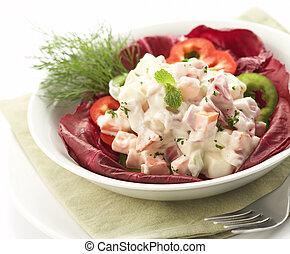 insalata, servito, su, uno, ciotola