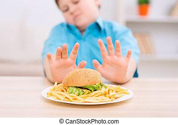 insalubre, alimento., refuses, chubby, comer, criança