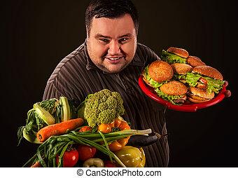 insalubre, dieta saudável, escolha, gorda, entre, alimento., faz, homem