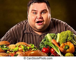 insalubre, saudável, gorda, alimento., entre, escolha, faz, homem