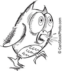 Insane Crazy Drawing Sketch Owl Vector