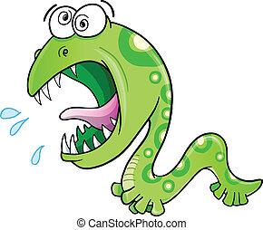 Insane Crazy Wild Worm Vector Illustration art