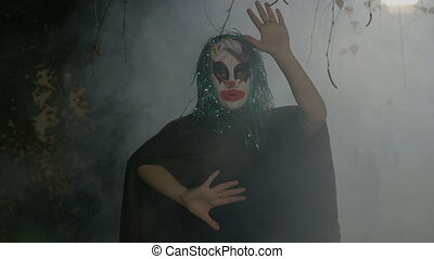 Insane evil halloween clown mime miming a slowly death...