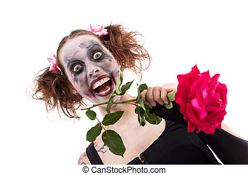insane woman with a red rose