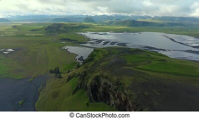 Insanely beautiful landscape of the lake and mountains of Iceland. Andreev.