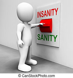 insano, psicologia, insanidade, sanidade, interruptor, são,...