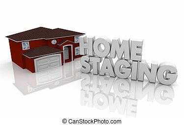 inscenizacja, służba, render, dom, sprzedaż, ilustracja, dom, otwarty, 3d
