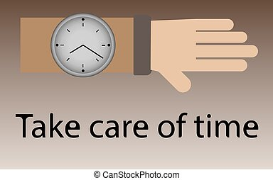 inschrift, armbanduhr, abbildung, hand, vektor, bürste, zeit, achtgeben