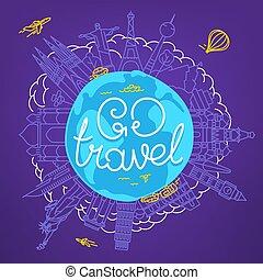 inschrift, begriff, reise, calligraphic, vektor, gehen, welt, logo.
