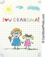 inschrift, liebe, enkelkind, hände, abbildung, vektor, zusammen, besitz, grossmutter, sie, grandmom