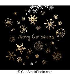 inschrift, satz, schneeflocken, gold, beschaffenheit, hand-drawn, fröhlich, weihnachten., fünfundzwanzig