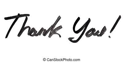 inschrift, sie, danken, handgeschrieben