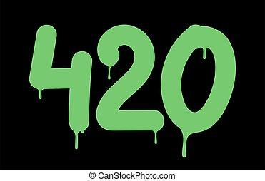inscrição, 420, tag, número, graffiti