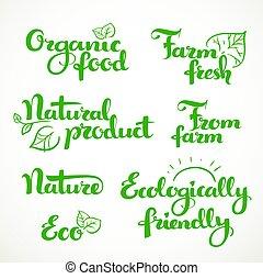 inscrição, alimento, calligraphic, experiência verde, fresco, ecologically, branca, amigável
