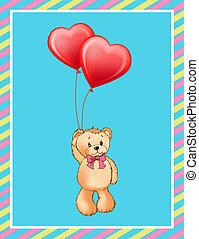 inscrição, amor, pelúcia, cartaz, urso, cute, tu