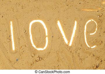 inscrição, areia, amor