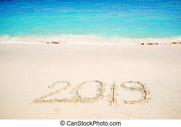 inscrição, areia, tropics., feriados, ano, novo, comemorar