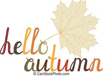 inscrição, autumn., olá