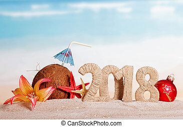 inscrição, coco, flor, starfish, guarda-chuva, palha, sand.,...