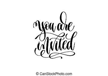 inscrição, convidado, convite, mão, tu, evento, lettering