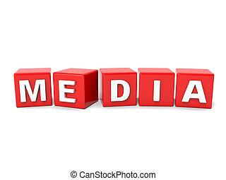 inscrição, cubos, vermelho, mídia