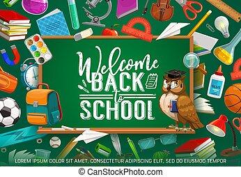 inscrição, escola, bem-vindo, costas, quadro-negro