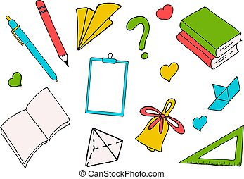 inscrição, escola, colorido, setembro, books., school., costas, ilustração, materiais, branca, dia, conhecimento