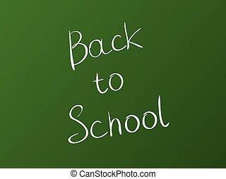 inscrição, escola, costas, verde, tábua, fundo, branca