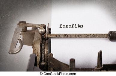 inscrição, feito, antigas, máquina escrever, vindima