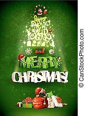 inscrição, feliz, ano, novo, natal, feliz