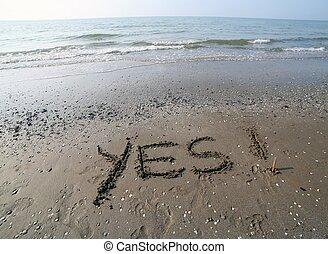 inscrição, grande, palavras, escrito, Areia, mar, sim