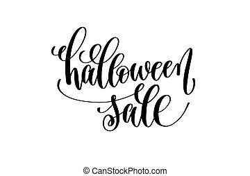 inscrição, lettering, dia das bruxas, venda, mão, feriado