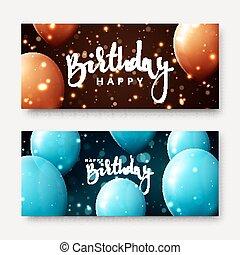 inscrição, luz, calligraphic, aniversário, efeitos, balões, feliz