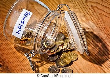 inscrição, moedas., aposentadoria, /, vidro, pensão