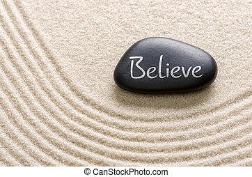 inscrição, pedra, acreditar, pretas