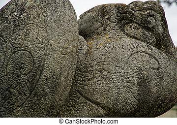 inscrição, pedra, antiga, natureza, linhas, -, esculpido, ornate