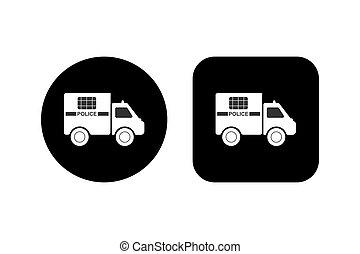 inscrição, quadrado, carro polícia, fundo, silueta, redondo