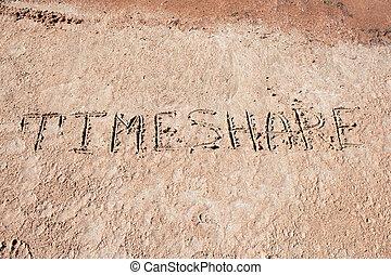 """inscrição, """"timeshare"""", sand."""
