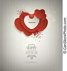 inscrição, valentine, Título, fundo, corações, Dia