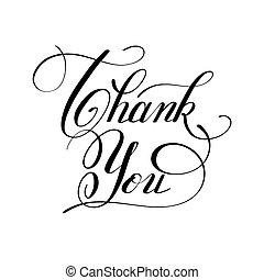 inscripción, agradecer, letras, usted, caligrafía, ...