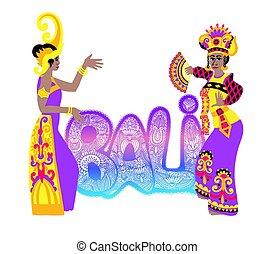 inscripción, bailarín, -, letras, isla, tradicional, mano, ...