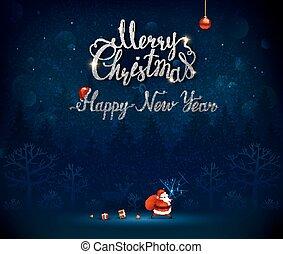inscripción, calligraphic, alegre, año, nuevo, navidad,...
