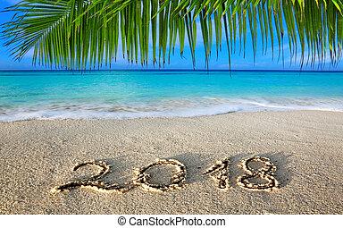 inscripción, caribe, nuevo, escrito, verde, 2018, mar, año, ...