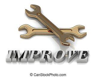 inscripción, cartas, llaves, metal, improve-, 2