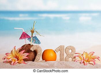 inscripción, coco, sand., nuevo, pajas, números, año, ...