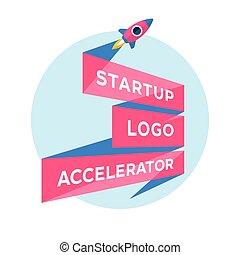 inscripción, concepto, acelerador, inicio, arriba, proyecto, comienzo, diseño, logotipo