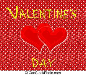 inscripción, corazones, día, rojo, valentino