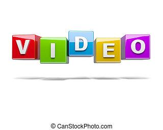 inscripción, cubos, vídeo, rojo