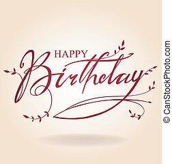inscripción, cumpleaños